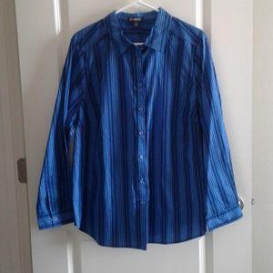 Roaman's Striped long sleeve shirt sz 20W blue